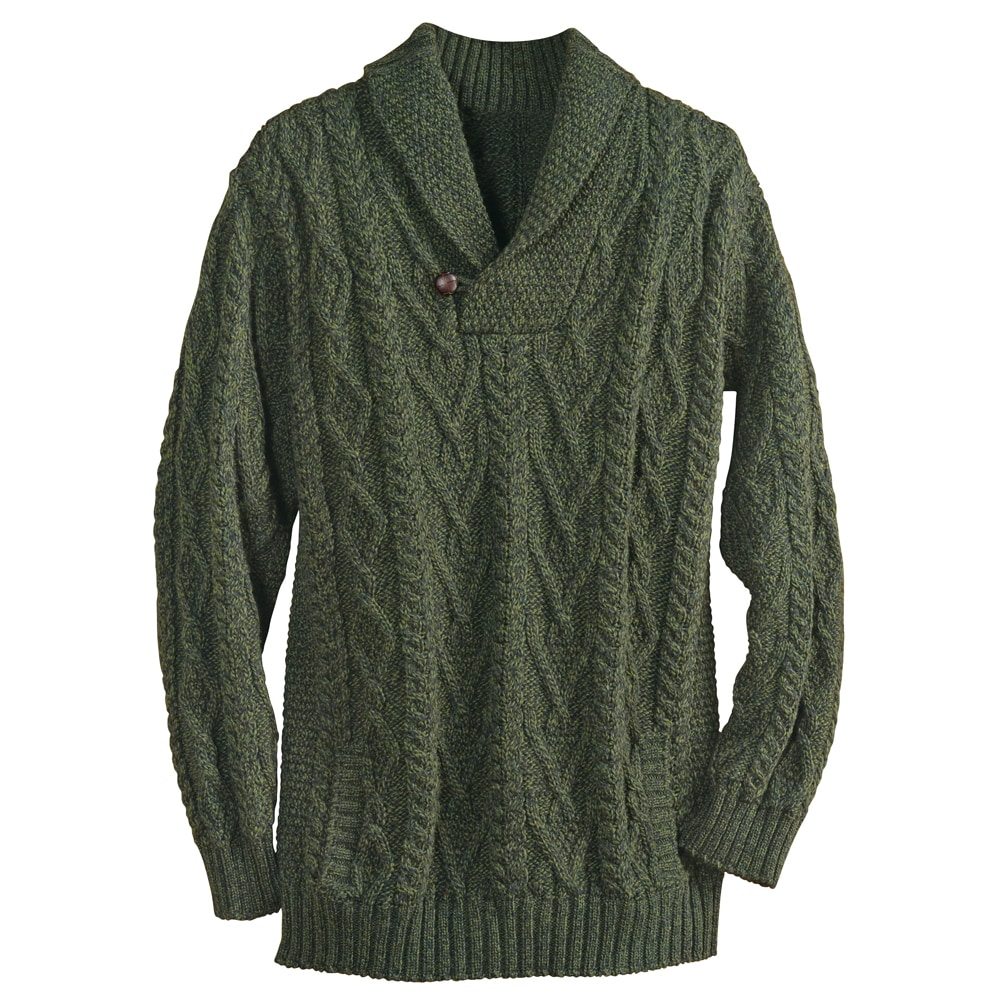 Knitting Cardigan Collar : Shawl collar cable knit pullover sweater ebay