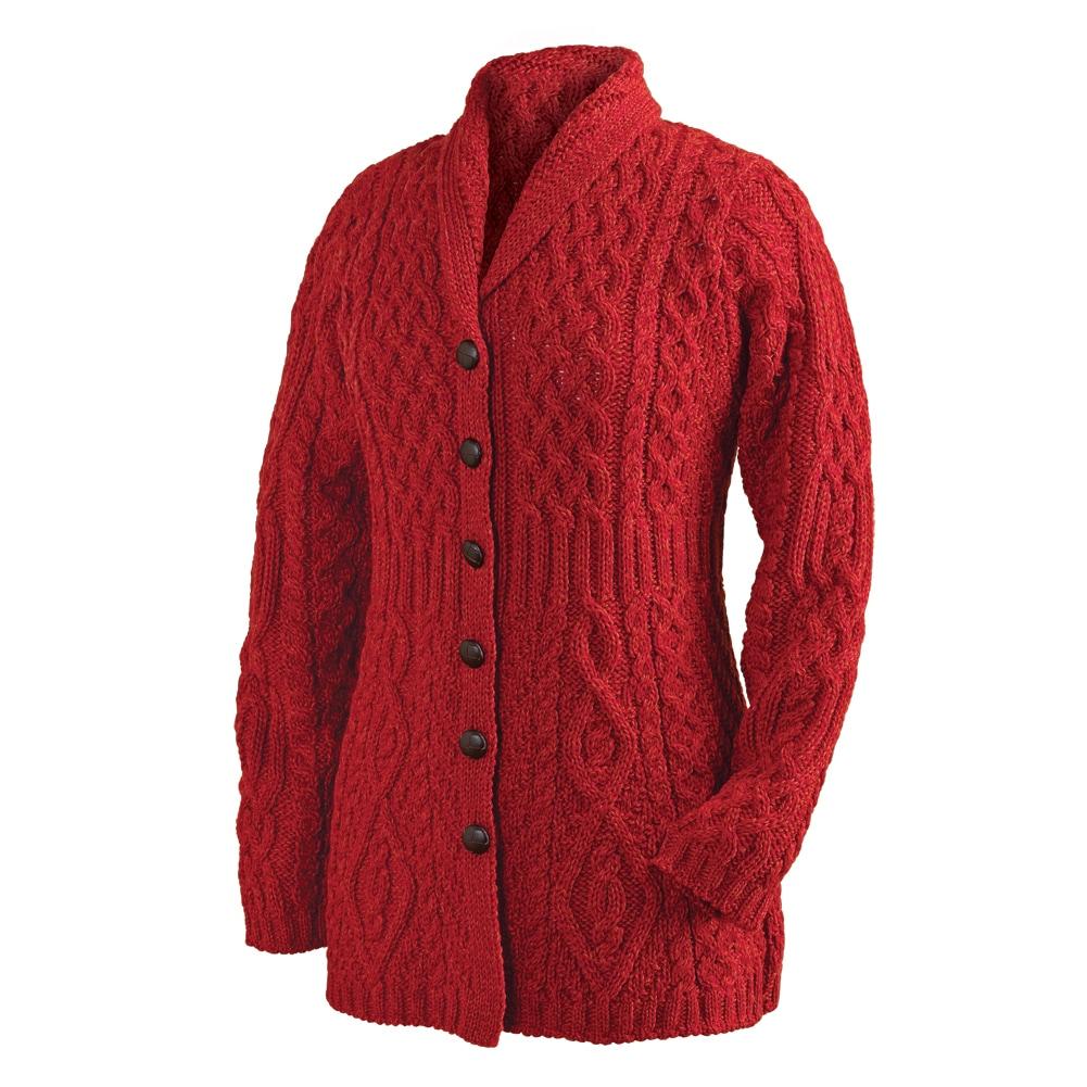 Knitting Cardigan Collar : Cardigan shawl collar button down cable knit sweater ebay