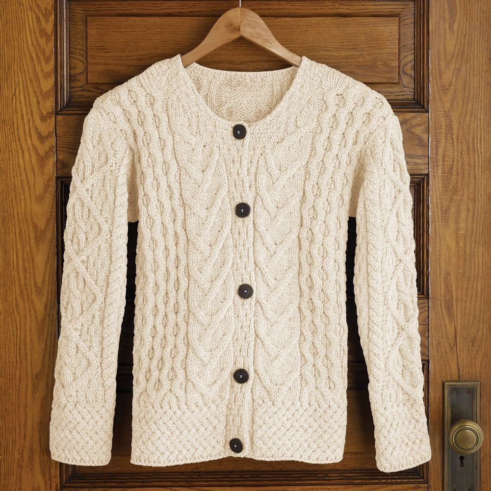 Women's Button Down Sweater - Aileen Aileen Aileen Aran Cardigan 641707