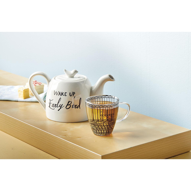 Wake Up, Early Bird Tea Set, Tea for One - 2 Cup Ceramic ...